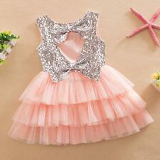 Girls Outfit Dress Kids Skirt Sequined Bow Party Pageant Tulle Tutu Cake Dresses