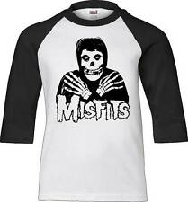 MISFITS CROSSED HANDS SKELETON ZOMBIE PUNK ROCK MUSIC MENS RAGLAN T SHIRT S-XL