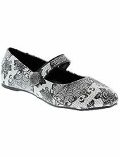 IRON FIST MIDNIGHT WIDOW GOTHIC PUNK FLORAL BIKER FLATS SHOES WOMENS SIZE 7-10