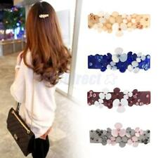 Women Crystal Rhinestone Acrylic Flower Hair Barrette Clip Hair Accessories