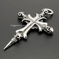 316L Stainless Steel Cross Skull Mens Biker Rocker Punk Pendant  3G010A