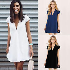 Sexy Ladies Casual Short Sleeve Party Evening Cocktail Summer Beach Dress Blouse