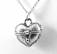 Silver Tone Pewter Heart Shaped Prayer Locket on a Link Chain Necklace - 1700