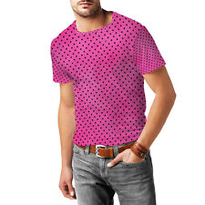 Hot Pink Polka Dots Mens Cotton Blend T-Shirt XS - 3XL Sublimation All-Over-Prin