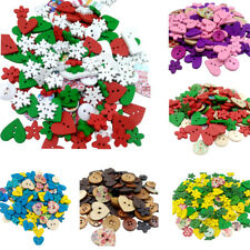 Multi Pcs Wood Wooden Buttons DIY Sewing Paper Crafts Kid's Scrapbooking Flower