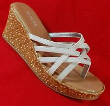NEW Girl's Youth's SONOMA LUCINDA White Sparkles Sandals Thong Wedge Dress Shoes