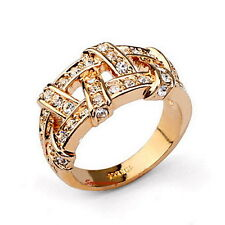 18k Rose Gold Plated Clear Swarovski Crystal Women Wedding Nest Wrap Ring R111