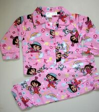 New DORA EXPLORER Girls Winter Flannelette Pink Pyjamas/PJ Size 1,2,3,4,5,6