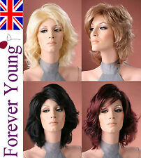 Ladies Medium Short Wig Blonde Black Brown Wig Forever Young Full Fashion Wigs