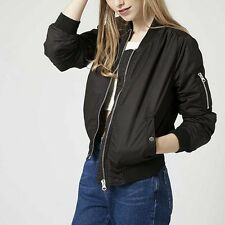New Womens Vintage Solid Color Zip Up Classic Bomber Jacket Flight Coat