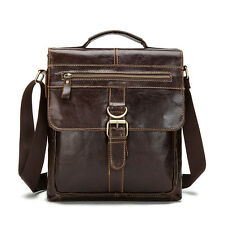 Men Genuine Leather Messenger Shoulder Bag Satchel Handbag Cross body Tablet Bag