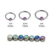 316L Surgical Steel Captive Bead Nose Ring Septum Hoop 2MM Opal 18G 20G 16G