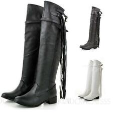 Fringe shoes Womens Biker booties Casual Knee High Boots Size 7 8 9 10 11 12 13