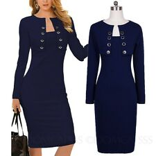 womens Stretchy High quality Ladies Wiggle long sleeve Cardigan Dress Size