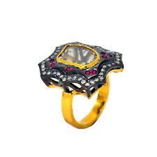 .925 Sterling Silver Diamond 14k Gold Ruby Cocktail Ring Vintage Style Jewelry