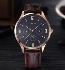Luxury Men's Date Week Business Real Leather Stainless Steel Quartz Wrist Watch