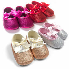 Baby Kid Girls Shining Newborn No-slip Bowknot Soft Sole Lace Ribbon Crib Shoes