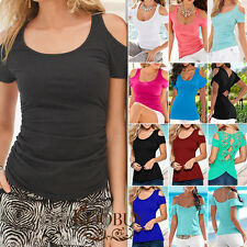 New Women's Casual Off Shoulder Short Sleeve T-shirt Tops Tee Shirt Blouse Tee
