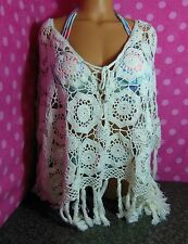 NWT Crochet Boho Open-stitch Fringed Sheer Top Sweater Poncho Cover-up S/M M/L