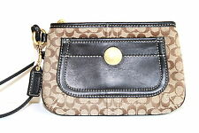 NWT COACH KHAKI SIGNATURE Cell Pocket Large WRISTLET Clutch 41120