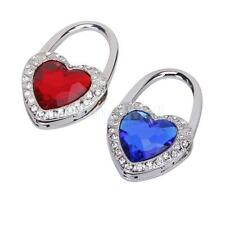 Heart Rhinestone Folding Bag Purse Handbag Hook Hanger Holder Red Blue
