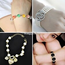 New Fashion Korean 1pcs Vintage Colorful Sweet Crystal Beads Lovely Bracele N98B