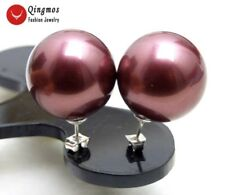 SALE Big 18mm Pink Round Sea Shell Pearl Earring &Stering Silver 925 stud-ear433
