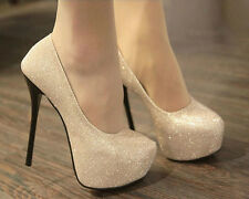 Glitter Women Lady Platforms Pumps Stiletto High Heels Bridal Wedding Shoes