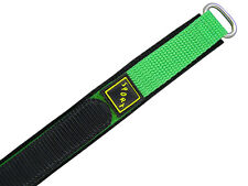 Wrist watch bands Nylon Klettband black green Velcro SPORT 18 mm
