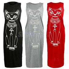 Women's Casual Long Maxi Dress Cat Printed Summer Tank Tops Shirt Dress Beach