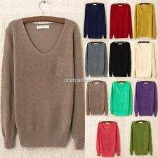 Women V-neck Long Sleeve Pocket Soft Knitted Jumper Top Sweater 11 Colors N98B