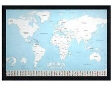 Black Wooden Framed World Map Colour In Maxi Poster 61x91.5cm