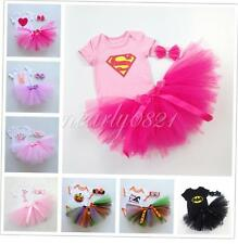 Toddler Baby Girls Party Outfit Clothes 3PCS Romper+Headband + Skirt Tutu Dress