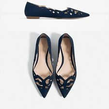 Woman ZARA LASER-CUT cow LEATHER BALLET FLATS lady shoes pointed toe new navy