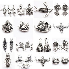 New 15 Styles Various Animals Tibetan Silver Mixed Charm Pendant Jewelry Making