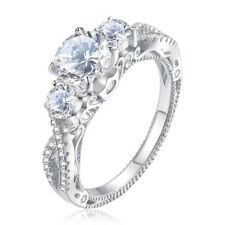 Three Stone Round White Cz 925 Sterling Silver Wedding Engagement Ring Size 5-10