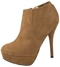Womens Faux Suede Ankle Boots Platforms Stiletto High Heels Party Shoes Size