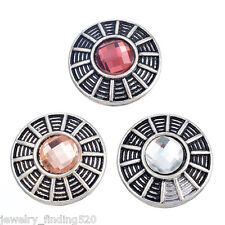 Wholesale Silver Snap Button Fixed Mixed Set Rhinestone jewelry DIY 20mm