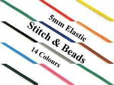 Coloured Elastic Cord Trim Ribbon 5mm Flat x 3 Meter Trimming Choose Colour