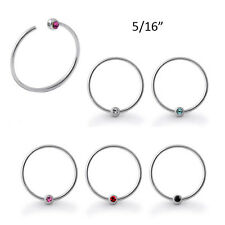 "Nose Ring Hoop 925 Sterling Silver 5/16"" Colorful Captive Ball 20 Gauge 20G"