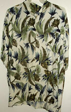 NWT JUNGLE PRINT #2 pocket HAWAIIAN SHIRT BY IRVINE PARK palms & flowers L or XL