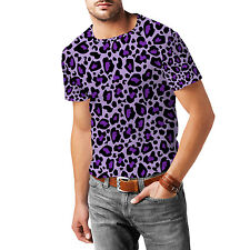 Leopard Print Bright Purple Mens Sport Mesh T-Shirt XS-3XL All-Over-Print