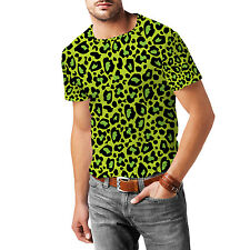 Leopard Print Bright Green Mens Sport Mesh T-Shirt XS-3XL All-Over-Print