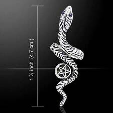 Adjustable Snake and Pentagram Silver Ring - Crafted with .925 sterling silver