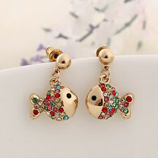 Fashion Womens Lovely Fish Shaped Crystal Rhinestone Earrings Party New Jewelry