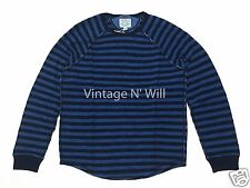 Lucky Brand Jeans Mens Indigo Dye Blue Striped Stitched Crew Raglan Sweatshirt