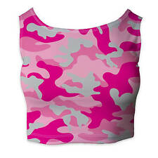 Camouflage Hot Pink Ladies Crop Top - Sleeveless XS - 3XL