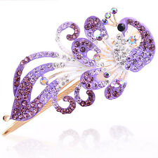 Fashion Women Crystal Rhinestone Peacock Barrette Hairpin Hair Clip Accessory