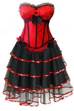 sexy Corset Dress Mini Skirt Corset Bustier Corsage top red <5db>