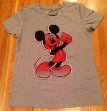NWT Disney Mickey Mouse in Red Ladies Gray Cotton Tee Shirt Size Large